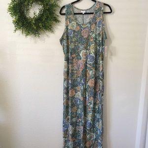 NWT Lularoe Dani Tank Blue/Green Floral Dress